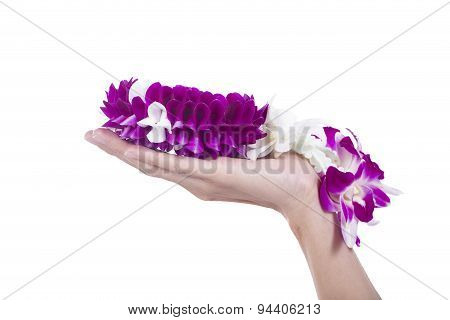 Thai Orchid Garland On Hand