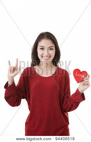 Woman Holding Heart On White Background