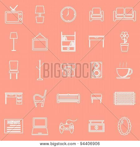 Living Room Line Icons On Orange Background