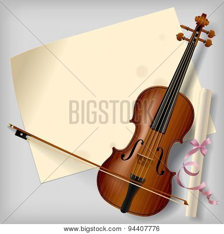 Violin with a paper sheet on a gray background. Vintage artistic blank