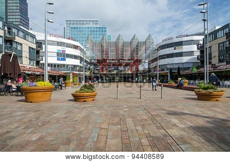 Almere, Netherlands - May 5, 2015: People Visit Almere Central Station In Almere, Netherlands.