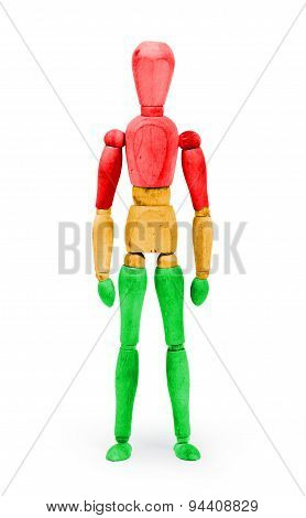Wood Figure Mannequin With Bodypaint - Traffic Light, Red, Orange And Green