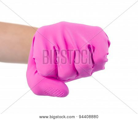 Hand In A Rubber Glove Gesturing Fist