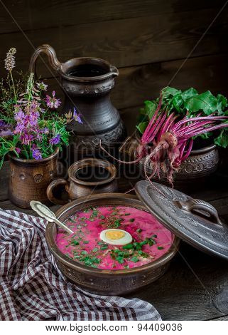 Russian Cold Soup With Beetroot On Dark Wooden Table.