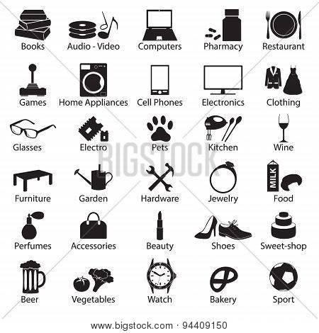 Shop Department Simple Vectors Symbols Set Eps10