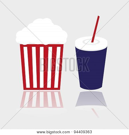Simple Popcorn And Cola Drink For Cinema Eps10