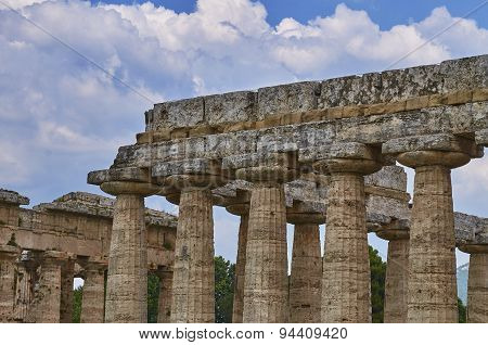 Close Up Of Temple Of Hera In Paestum. Italy