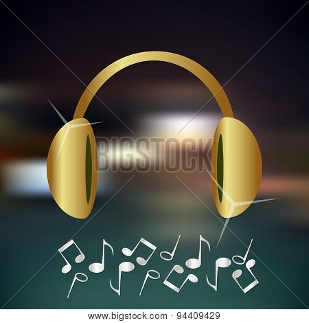 Music Gold And Shiny Headphones Icon And Background Eps10