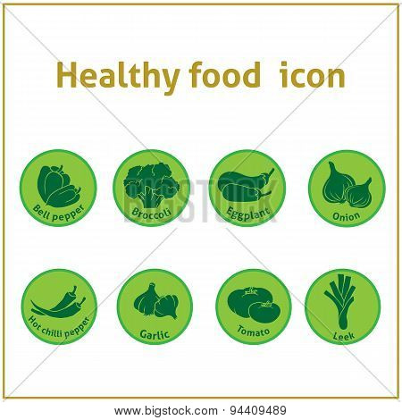 green round icons of healthy food.
