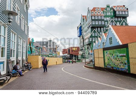 Zaandam, Netherlands - May 5, 2015: People Walk On A Pedestrian Zone In Zaandam, Netherlands.