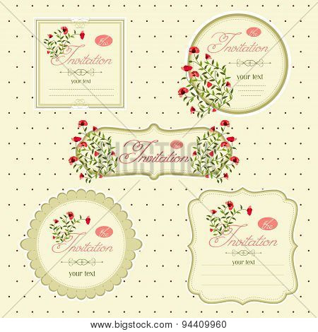 Vector Image Of Invitation Icons, Postcards. Floral Invitation C