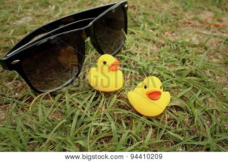 Sunglasses With Yellow Rubber Duck On Greengrass Background.