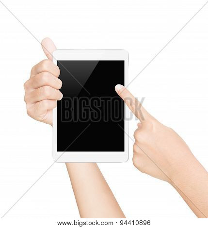 Hand Hold White Tablet Screen Isolated White With Clipping Path Inside