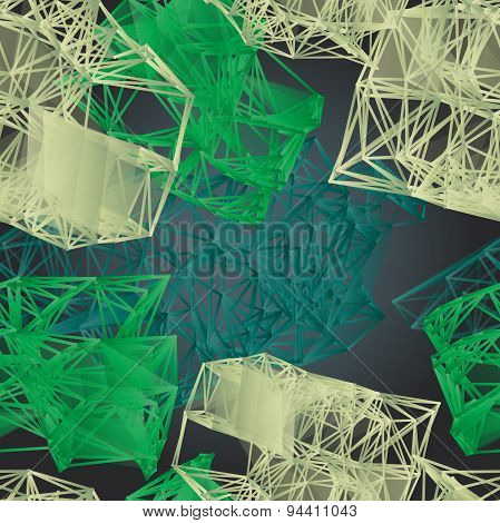 Textile Seamless Pattern Of Green Polygonal Figures On Dark Back