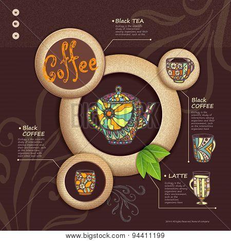 Web Site Design. Decorative Cup Of Coffee