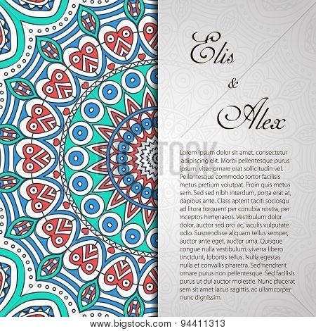 Invitation card with lace ornament.