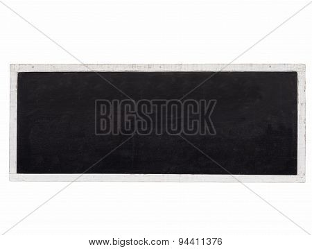 Blank Blackboard Background With White Wooden Frame Isolated