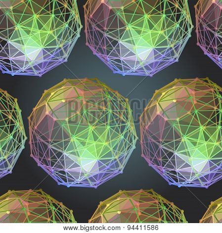Textile Seamless Pattern Of  Spheres Polygonal Figures On Dark B