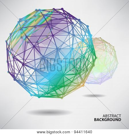 Abstract Background With Spheres On Theme Digital Technology And