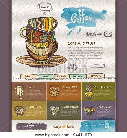 Web Site Design Template. Decorative Cup Of Coffee