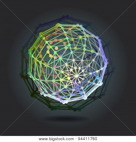 Abstract Background With Sphere On Theme Digital Technology And