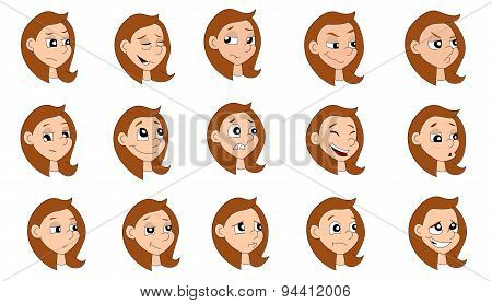 Cartoon Girl Expressions Collection