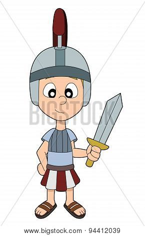 Cartoon Roman Legionnaire Boy