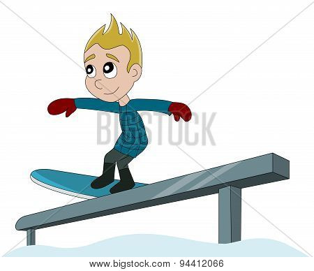 Snowboarding Boy Cartoon