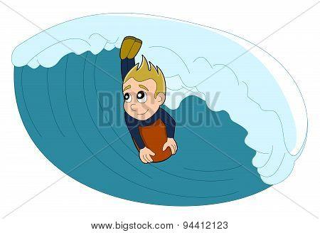 Surfer / Bodyboarder Boy Cartoon