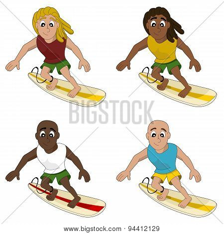 Cartoon Collection Of Surfing Men
