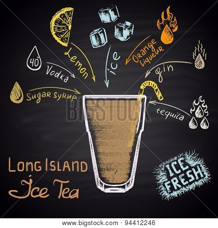 Colored chalk drawn illustration of long island ice tea with ingredients. Alcohol cocktails theme.