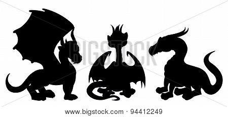 Dragon Cartoon Silhouettes