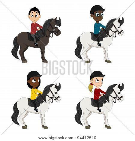 Horseback Riders Children Cartoon