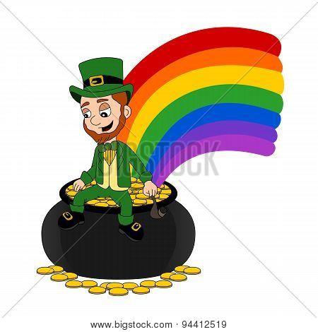 Cartoon Leprechaun Sitting On A Pot Of Gold