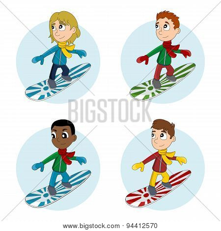 Snowboarder Boys Cartoon