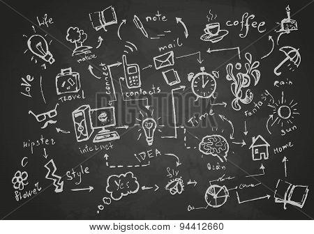 Set Of Sketch Elements. Chalk Drawings.