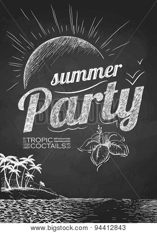 Summer Party Poster. Disco Background. Chalk Drawings.