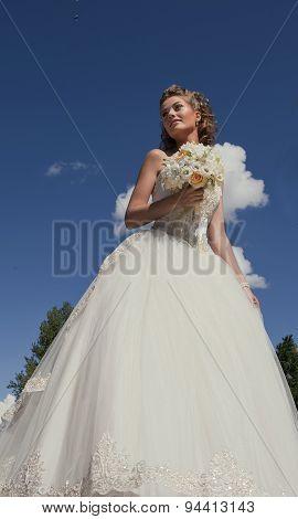 Beautiful bride outdoors.