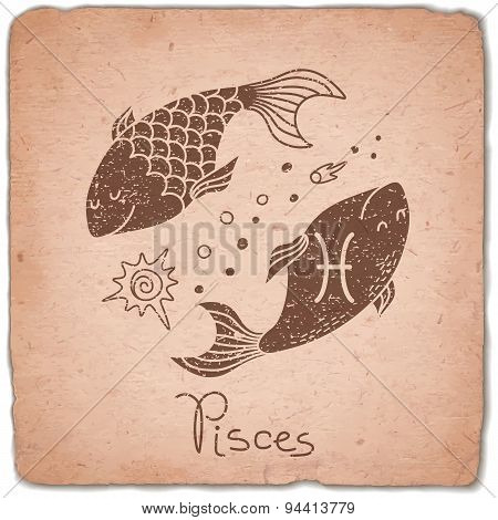 Pisces zodiac sign horoscope vintage card.