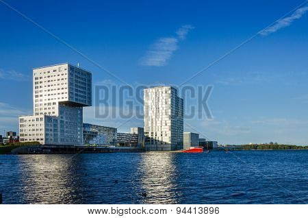 Almere, Netherlands - May 5, 2015: Skyline Apartment Buildings Of Almere Stad, Netherlands