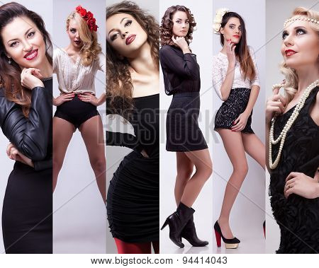 Collage Of Beautiful Fashion Girl In Studio