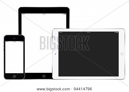 Mockup Of Smartphone And Two Tablet Computers In Portrait And Landscape Orientation