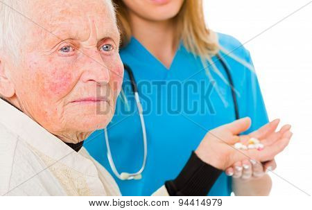 Sad Old Woman With Drugs