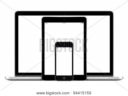 Laptop Computer Smartphone And Digital Tablet Pc Template