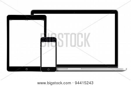Open Laptop Smartphone And Tablet Pc Template