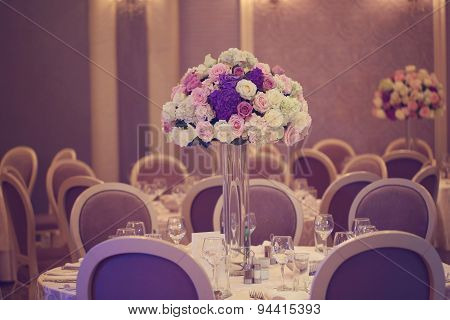 Beautiful Bouquet On Wedding Table