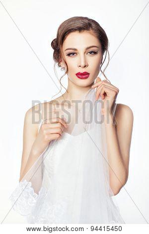 Bride Hands Holding A Veil.