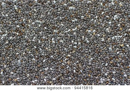 Background of Chia seeds . Top view. Selective focus