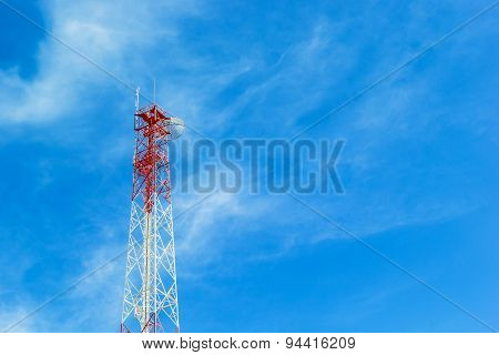 Phone Tower Antenna With Cloud And Blue Sky Background