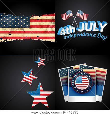 vector set of 4th july american independence day background illustration with american flag